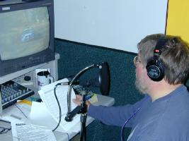 Recording the voice track to the video at the studios of WDIO-TV in Duluth.